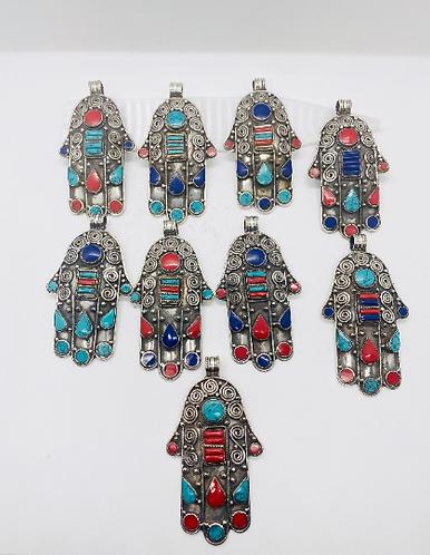 Handmade Tibetan Silver Hamsa Pendant, Blessing Hand Pendant,Turquoise,Coral and