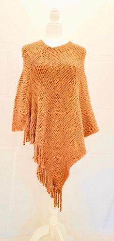 Hand Knit V Neck Winter Ponchos with Fringe