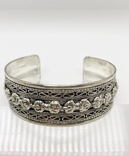 Ethnic Filigree Design with Dorje/Vajra Cuff Handmade Metal Bracelet
