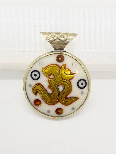 Handmade Double Sided OM Pendant with Buddhist Healing Mnatra