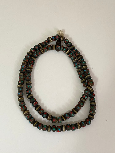 Yak Bone Prayer Beads with Turquoise and Coral