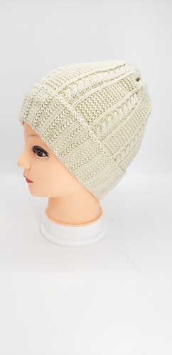 Handknit Solid Fleece Lined  Beanie Hat,Winter Hats,Hats with Double Lining, Acr