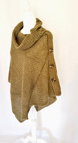 Hand Knit Turtle Neck Side Button Two Way Winter Poncho