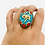 Thumbnail: Tribal Ethnic Hanmdade OM/ Buddha Eye Adjustable Ring,Turquoise Coral Lapis Lazu
