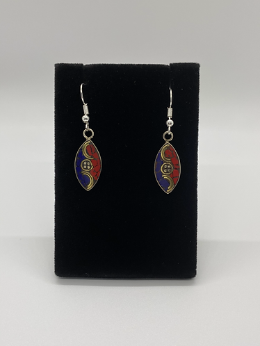 Lapis/Coral Earring