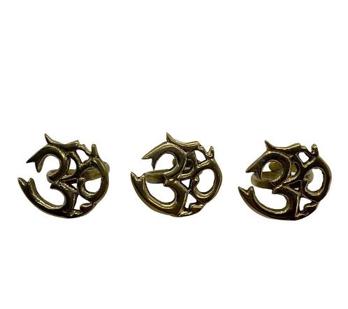Brass Handmade Om Ring from Nepal, Ohm Ring, Vintage Brass Ring, Meditation Ring