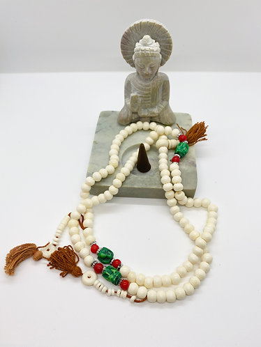 White Yak Bone Prayer Beads with Turquoise and Coral
