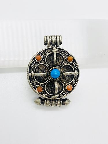 Vajra Box Pendant,Silver Prayer Box Necklaces