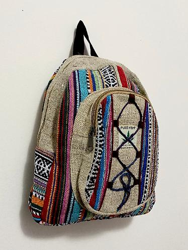 Handmade Mini Hemp Back Pack, Multi Color Hemp Back Pack from Nepal, Durable Mul