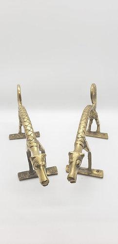 Handmade Jaguar Brass Design Door Handle/Knob Pair