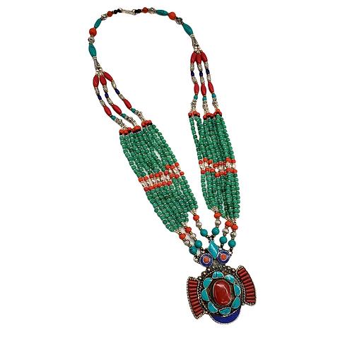 Tribal Fusion Vintage Turquoise, Coral, Lapis Lazuli Necklace