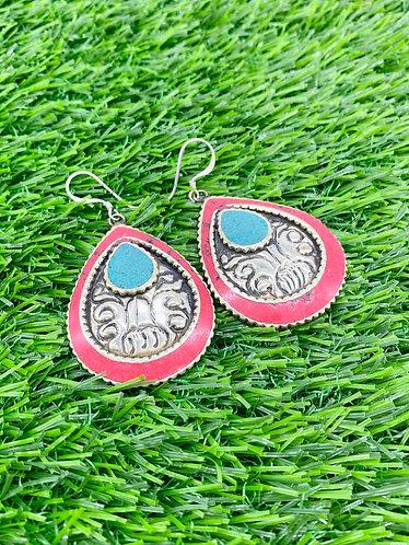 Handmade Vintage Tribal Fusion  Tibetan Natural Gemstones Earring from Nepal
