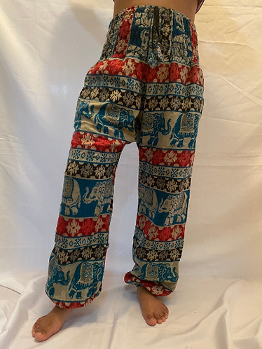 Wool Harem Pants/Elephant Print Non Itchy Warm Pants/Hippie Tribal/Winter Pants