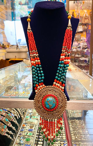 Turquoise/Coral Tibetan Multistrand Handmade  Necklace