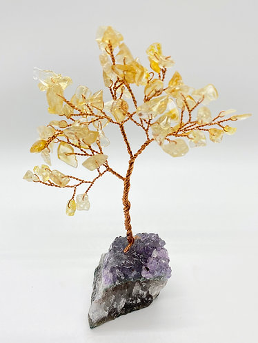 Citrine Prosperity/Fengshui Bonsai Tree with Amethyst Base