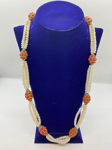 Handmade Mother of Pearl Necklace with Coral