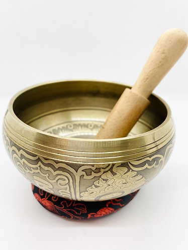"""5.5"""" Mantra Craved Handmade Singing Bowl from Nepal"""