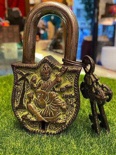 Handmade Durable  Brass Saraswoti Lock with Two Keys