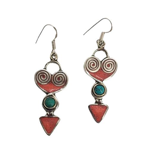 Heart Shaped Authentic Multistone Earring/Handmade Earring