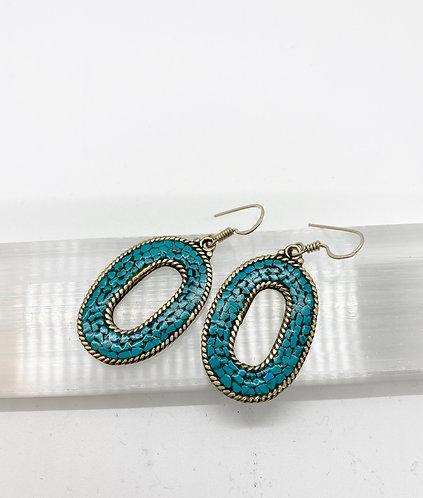 Handmade Turquoise Earring from Nepal