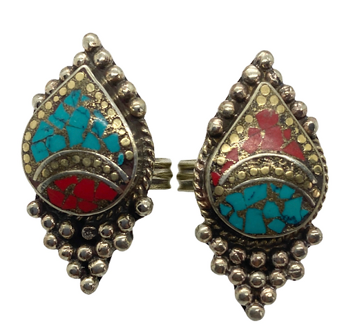 Unique Multistone Rings  from Nepal, Turquoise/Coral Rings, Small Chip Stones Ri