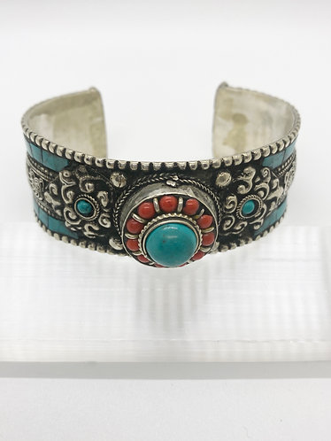 Handcarved Turquoise Metal Cuff  Bracelet with Filgiri Design