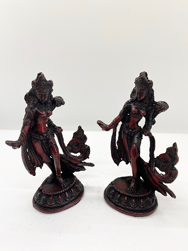 Handmade Standing Tara Statue, Reddish Brown Resin Tara, Buddhist Goddess of Com