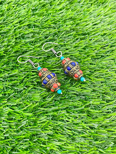 Handmade Vintage Turquoise/Coral/Lapis Lazuli Earring from Nepal