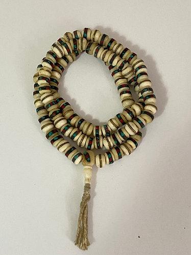 Handmade Yak Bone Prayer Beads with Turquoise and Coral