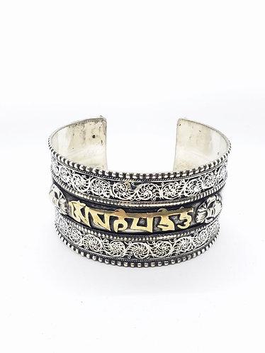Figiri Handmade Wide Cuff Metal Bracelet with Buddhist Healing Mantra