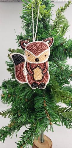 Handmade Christmas Ornamnets, Squirrel Beaded Ornaments, Dolphin Beaded Ornament