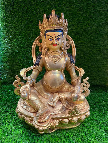 Handmade 24k Gold Plated Kubera, Tibetan Buddhist God of Wealth, Gold Plated God