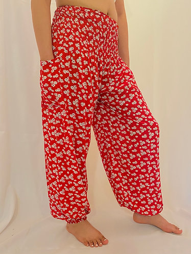 Red Harem Bohemian Yoga Pants