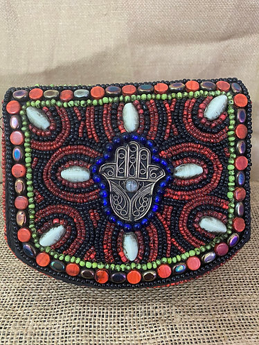 Handmade Beaded Bag with Blessing Hand
