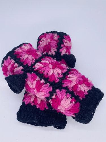 Handmade Crochet Flower Design Handwarmers/Fingerless Gloves with Fleece Lining