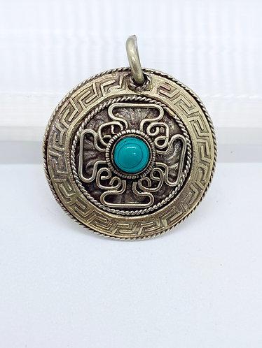 Handmade Tibetan Tribal Fusion Turquoise Pendant