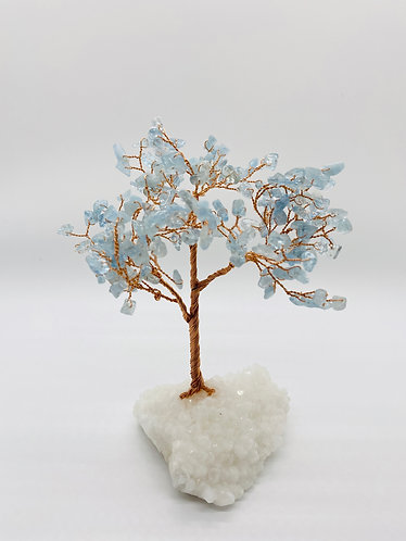Aquamarine Prosperity/Feng Shui Bonsai Tree with Quartz