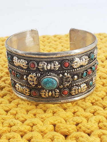 Turquoise Wide Cuff Bracelet with Dorje/Vajra, Tribal Fusion Coral Bracelet, Tib