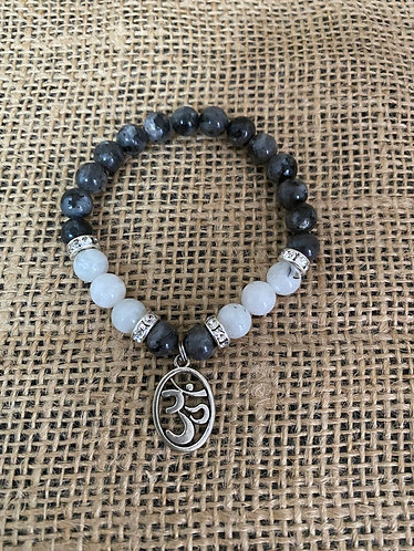 Black Labradorite with Moonstone and OM Charm Bracelet