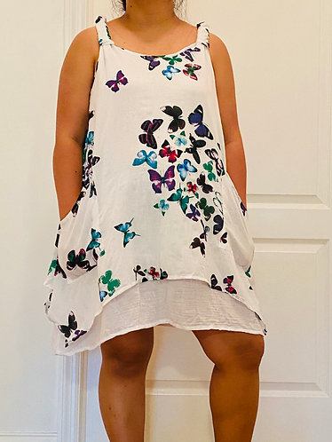 Sleeveless Cotton Butterfly Dress