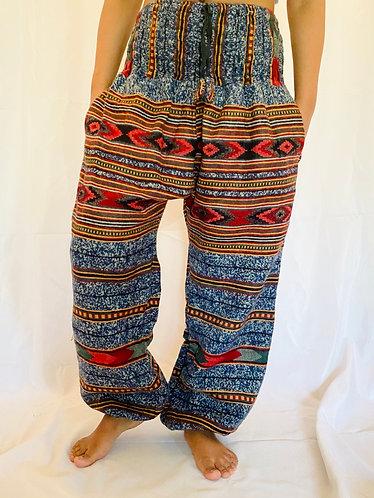 Handmade Multiprint Blue Wool Pant