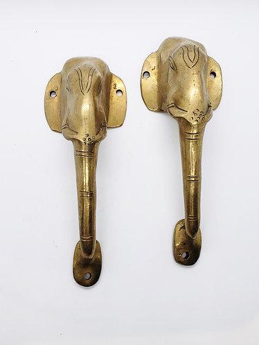 Handmade Elephant Design Brass Door Handle/Knob
