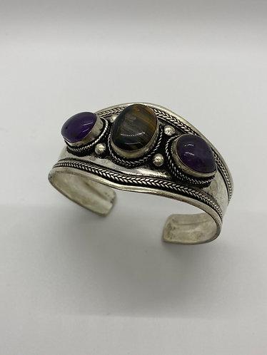 Ethnic Handmade Tiger eye/Amethyst Cuff Metal Bracelet