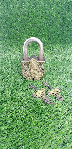 Handmade Baby Krishna Door Lock with Two Keys, Vintage Door Lock from Nepal, Hom