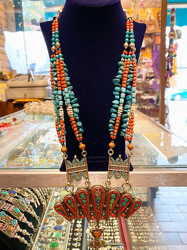 Vintage Turquoise/Coral  Multi Strand  Handmade Tibetan Necklace