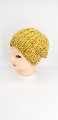 Hand Knit Solid Fleece Lined Acrylic Hat, Winter Unisexual Hats, Hats with Doubl