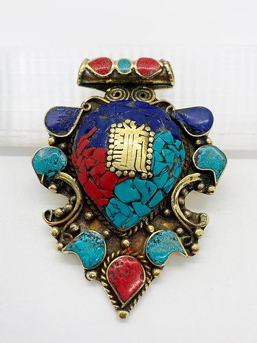 Handmade Tibetan Tribal Fusion  Healing Mantra  Pendant