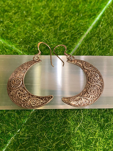 Handmade Filgiri Design Crescent Moon Sterling Silver Earring from Nepal