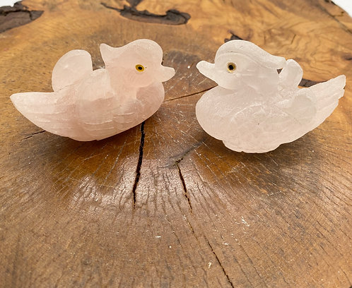 Rose Quartz Swan Couple Set, Stone for Love, Marriage Gifts