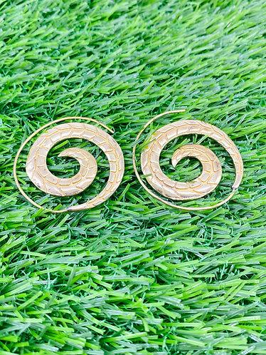 Handmade Ethnic Brass Spiral Earring from Nepal